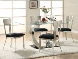 Small Glass Kitchen Tables by Dining Room The Valencia Glass Table With Amrose Chairs On Elegant