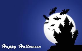 happy halloween scary house with bats flying around