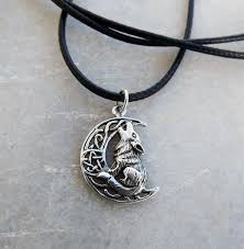 gothic moon necklace images Wolf pendant moon pentagram silver handmade necklace sterling 925 jpg