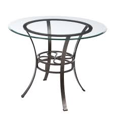 table round glass dining with metal base cottage kitchen