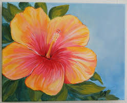 Yellow Hibiscus Flowers - yellow and red hibiscus flower on canvas original painting flower