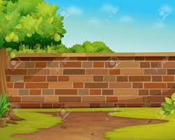 illustration of a brick wall in a garden royalty free cliparts
