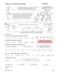 preview print answers preview of math worksheet on absloute value and number lines