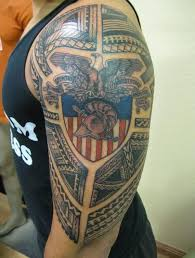 eagle sitting on american flag tattoo for lady u0027s upper arm