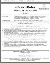 Sample Resume Receptionist Reception Resume Samples Receptionist Resume Sample Medical