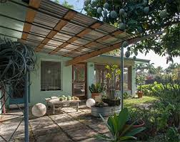 Metal Awnings For Patios Nice Corrugated Metal And Wood Awning Over Patio Dolphin House