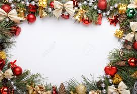 christmas frame with christmas ornaments and decorations stock