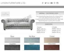 Chesterfield Sofa Dimensions by Sofa 3 Or 2 Seater Imperial Chesterfield Fabric Grey Brown Beige