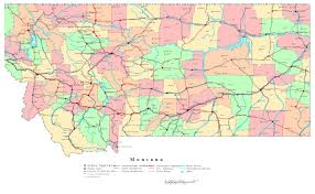 United States Map With Interstates by Large Detailed Administrative Map Of Montana State With Roads