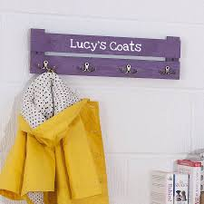 childs coat rack hooks and pegs wall key personalised wooden racks