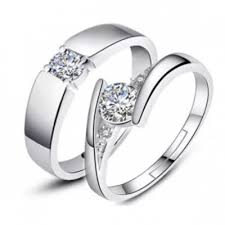 couples rings online images Crystal diamond silver couple ring 1 with box online shopping jpg