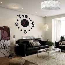 simple digits diy wall clock modern design sticker set 3d mirror