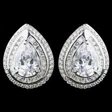 teardrop stud earrings large cz teardrop stud earrings lierre bridal accessories