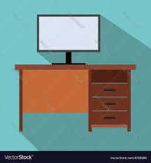 Flat Computer Desk Computer Desk Flat Icon Royalty Free Vector Image