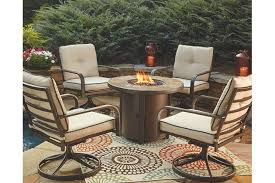 Fire Pit And Chair Set Predmore 5 Piece Chat Fire Pit Set Ashley Furniture Homestore