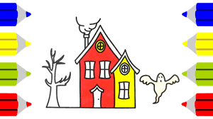 how to draw haunted house for kids coloring pages house art