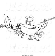 vector of a cartoon fiddler crab playing a violin outlined
