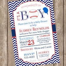 Invitaciones Baby Shower Ni Vintage Chevron It U0027s A Boy Baseball Baby Shower Invitation Red