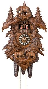 engstler carved style eight day musical cuckoo clock with