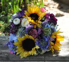 silk sunflowers fall wedding bouquet made of silk flowers sunflowers blue