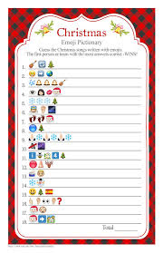christmas songs emoji pictionary with a red buffalo check