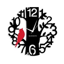 Wall Clocks Bird On Tree Wall Clock Black And Red Rakhi Gifts For Bhaiya