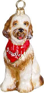 the pet set goldendoodle with bandana glass ornament