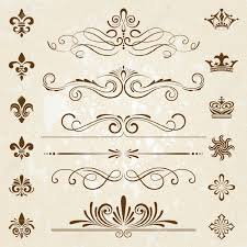 vintage decoration design elements with page decor royalty free