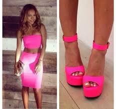 shoes pink high heels pink heels neon pink high heels pink