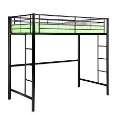 tubular steel twin size loft bunk bed in black affordable beds com