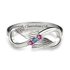 ring with birthstones angel wings infinity birthstone ring free engravings