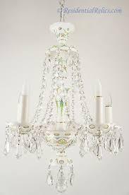 Opaline Chandelier Vintage Bohemian Czech White Opaline Overlay Crystal Chandelier