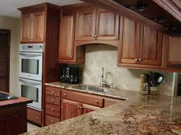 Kitchen Cabinets With Microwave Shelf by Resplendent Brown Marble Countertop With Undermount Sink As Well