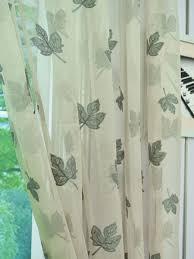 elbert maple leaves pattern embroidered grommet white sheer