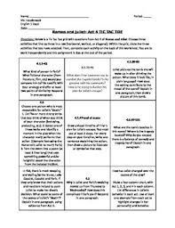 romeo and juliet act 4 tic tac toe worksheet by classroom quips