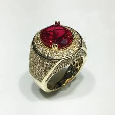 red jewelry rings images Men 39 s iced out red stone ring 14k popular jewelry jpg