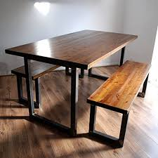 rustic dining table with bench industrial rustic dining table optional benches solid wood metal