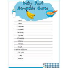 Free Baby Shower Scramble Games - free printable baby food scramble game for baby shower polyvore