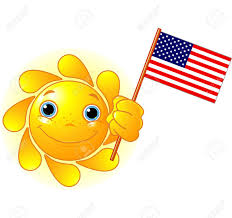 Flag Yellow Sun Cartoon Character Of Cute Summer Sun Holding American Flag Royalty