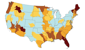 United States Storm Map by Water National Climate Assessment
