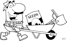 Happy Gardener Drives A Barrow With Tools Coloring Page Free Tools Coloring Page
