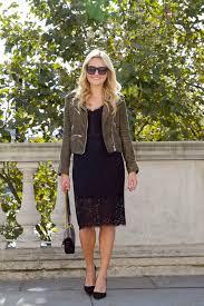 little black lace dress suede moto jacket u2014 bows u0026 sequins