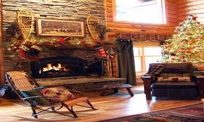 christmas fireplace decor country log cabin christmas fireplace