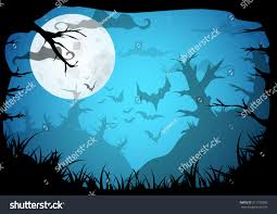 halloween moon background halloween blue spooky a4 frame border stock vector 311150285