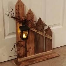primitive decor lantern candle holder decor rustic picket