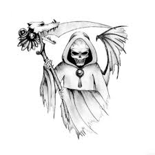 cool grim reaper tattoos for skull stickers 4 in one