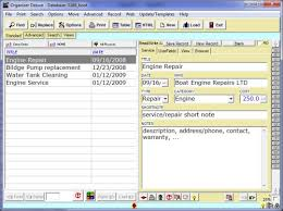 free boat service log database template for organizer deluxe and
