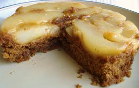 pear upside down gingerbread dessert for two
