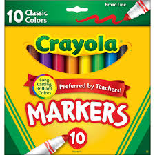 crayola washable markers broad line classic colors 8 count