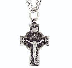 celtic crucifix sterling silver diamond end celtic crucifix on 24 inch stainless